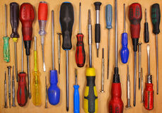 Many various old fashioned screwdrivers Royalty Free Stock Photo