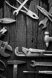 Many various tools as industrial background. Black and white Royalty Free Stock Photos