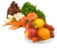 Many vegetables and fruits Stock Photos