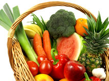 Many vegetables and fruits on isolated background stock image