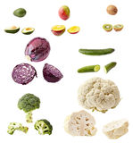Many vegetables and fruits isolated on white Stock Photography