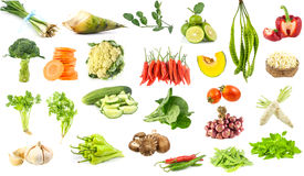 Many vegetables isolated on white background Stock Photography