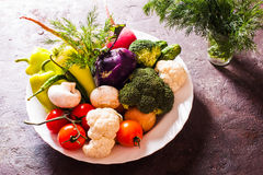 Many vegetables in plate Stock Photography
