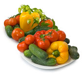 Many vegetables on the plate Royalty Free Stock Photos
