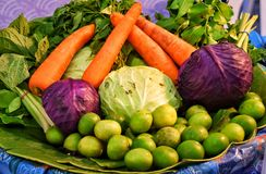 Many vegetables put in a basket Royalty Free Stock Images