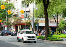 Many vehicles on the street in Saigon Royalty Free Stock Images