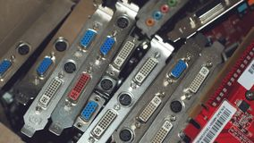 Many Video cards. Computer graphics card and Circuits :DVI, Display port connectors. Technology background. Selective focus.  stock photo