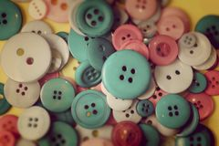 Many vintage colorful buttons close up background Royalty Free Stock Photography