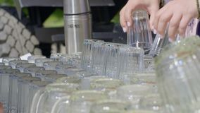 Many Vintage Glasses. For kvass stock video footage