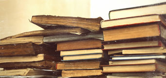 Many vintage old dirty books in three stack. Many old dirty books in three stack Royalty Free Stock Photography