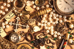 Many vintage things and jewelry. Background: many vintage things and jewelry Royalty Free Stock Images