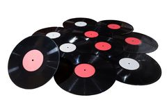 Many vinyl discs red and white label Royalty Free Stock Photo