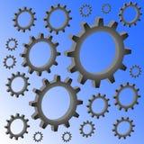 Many volumetric gears on a blue gradient background. Metal imitation stock illustration