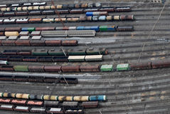 Many wagons and trains. Aerial view. Stock Images