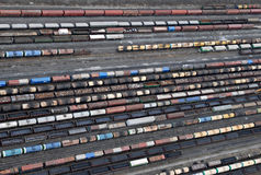 Many wagons and trains. Aerial view. stock photos