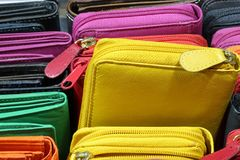 Many wallets of leather for sale in the italian store. In Florence Stock Image
