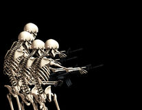 Many War Skeletons 2. An conceptual image of some skeletons with guns, it would be good to represent concepts of war,crime and Halloween Royalty Free Stock Photo
