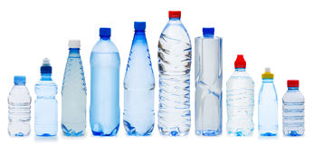 Many water bottles. On white Royalty Free Stock Photo