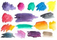 Many watercolor brush strokes. Set. Gradients. stock illustration