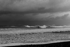 Many Wave Peaks Breaking on Beach Black and White. Lots of waves breaking on the coast of Northern California Stock Images