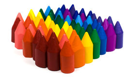 Many wax pencils. Wax pensils red,orange,yellow and other rainbow colors stock photography