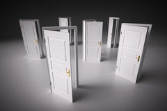 Many ways to choose from, open doors. Decision making Stock Image