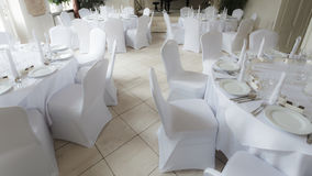 Many wedding chairs and tables Stock Image