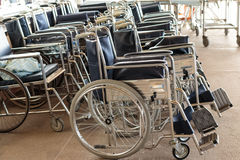 Many wheelchair for patients in the hospital Royalty Free Stock Images
