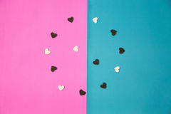 Many white and black hearts. On pink and blue background , isolated , Valentine Concept , Happy time Royalty Free Stock Images