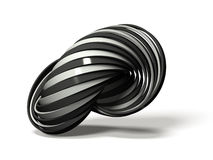 Many white and black rings overlap alternately. 3D illustration Stock Photo
