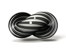 Many white and black rings overlap alternately. 3D illustration Stock Images