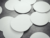 Many white circle beer coasters. 3d rendering Royalty Free Stock Image