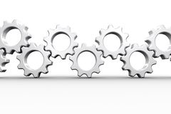 Many white cogs and wheels Royalty Free Stock Image