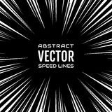 Many white comic radial speed lines on black base. Explosion Royalty Free Stock Photo