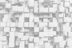 Many white cubes abstract 3d background. Abstract white graphic background made of many white cubes in front view, 3d illustration for different conceptual vector illustration