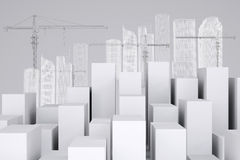 Many white cubes with wire-frame buildings and Royalty Free Stock Photography