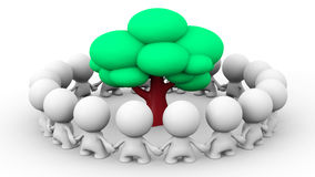 Many white 3d human characters standing in a circle around a tree. Many white 3d human characters standing in a circle around facing the tree Royalty Free Stock Photos
