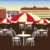Many white dining table of coffee shop in the city.The place for people to chill out. Royalty Free Stock Images