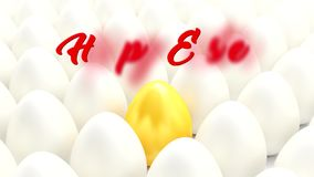 Many white eggs - golden egg and the message Happy Easter royalty free illustration