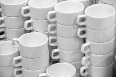 Many white empty cups. In cafe Stock Image