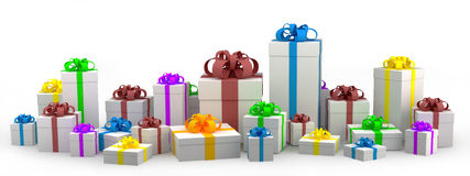 Many white gift boxes with color ribbon Stock Photos