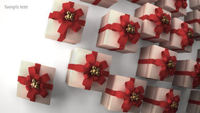 Many white gift boxes with red ribbon. And bow background 3d render ( high resolution Royalty Free Stock Photo