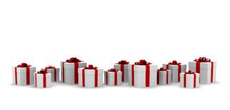 Many white gift boxes with red ribbon and bow. Isolated stock illustration