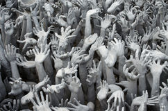 Many White Hands from Hell,  Buddhist architecture at Wat Rong K Stock Image