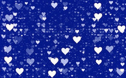 Many white hearts on blue background Stock Photos