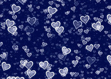 Many white hearts on blue background Stock Photography