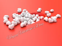 Many white hearts on a red background Valentine`s Day. 3d illustration. Many white hearts on a red background Valentine`s Day Stock Photography