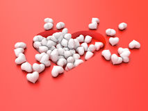 Many white hearts on a red background Valentine`s Day. 3d illustration. Many white hearts on a red background Valentine`s Day Stock Image