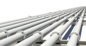 Many white industrial pipes with flanges and Royalty Free Stock Photos