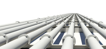 Many white industrial pipes with shadow. Isolated Stock Photos